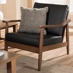 Shop Mid-century Lounge Chair by Baxton Studio - On Sale - Overstock - 17975298 - Black Accent Chairs For Living Room, New Living Room, Living Room Furniture, Living Spaces, Fabric Armchairs, Ottomans, Leather Lounge, Leather Recliner, Leather Chairs