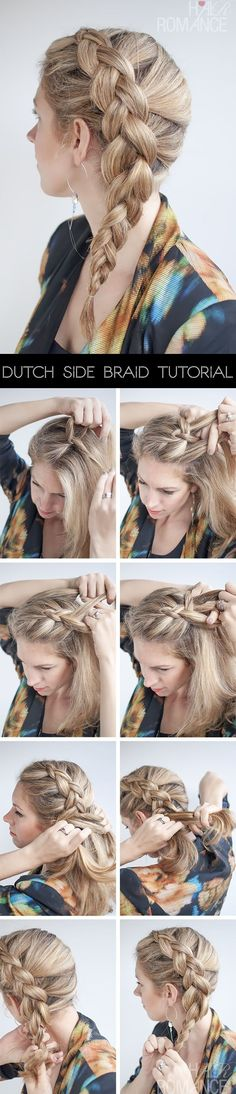 Hair Romance - side Dutch braid (reverse braid or inside out braid) hairstyle tutorial. Easy summer hair. by JanetFrances