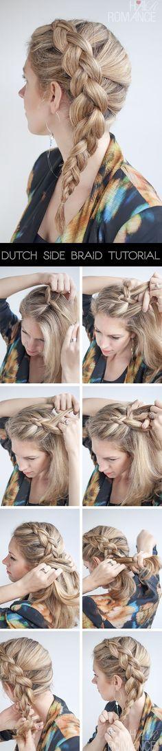 Hair Romance - side Dutch braid (reverse braid or inside out braid) hairstyle tutorial. Easy summer hair. by JanetFrances