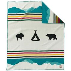Back in 2010, Pendleton honored the 100th anniversary of Glacier National Park with a classic, striped blanket. Now in 2016, those same stripes are incorporated in the Glacier Park Anniversary Blanket, but with specially-placed icons that evoke the spirit of Glacier.