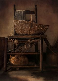 Bright Spot (by Robin Lee Vieira) [cat under chair with basket)