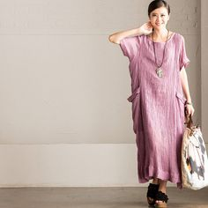 Purple Art Linen Big Pocket Long Dress Summer Casual Women Clothes Q6200A