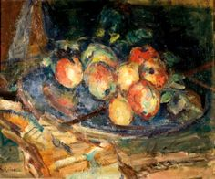 Michel kikoine (1892-1968), Avec des fruits, still life with fruits, oil on canvas, 38 x 46 cm (15 x 18 in.)