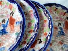 Torri Handpainted Nippon,pre 1880s,Burgandy Backstamp,4 Demitasse Saucers,Geisha Pattern,Flow Blue Edge,Gold Moriage Embellishments,Antique