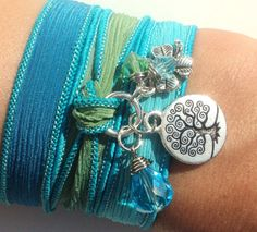 Tree of Life Silk Wrap Bracelet Hand Dyed by BohemianEarthDesigns, $27.95