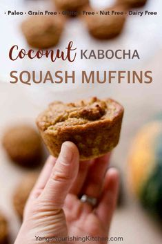 These coconut Kabocha squash muffins are loaded with squash. It's grain-free, paleo, and a great recipe for the winter months. Egg Free Recipes, Waffle Recipes, Snack Recipes, Dessert Recipes, Cooking Recipes, Paleo Recipes, Dinner Recipes, Snacks, Delicious Cake Recipes
