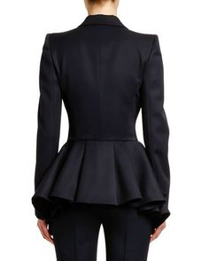 Image 2 of Alexander McQueen Peplum Back Grain de Poudre Blazer Jacket Peplum Blazer, Peplum Jacket, Blazer Outfits, Blazer Jackets For Women, Blazers For Women, Women Blazer, Alexander Mcqueen, Style Couture, Couture Fashion