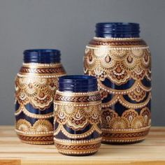 Vanessa Cline - Mason Jar Decor- Three Bohemian Style Mason Jars, Cobalt Blue Glass with Detailing in Copper, Gold, and Cream(Bottle Painting Mason Jars) Mason Jars, Apothecary Jars, Bottles And Jars, Mason Jar Crafts, Bottle Crafts, Glass Bottles, Bottle Painting, Bottle Art, Small Glass Jars