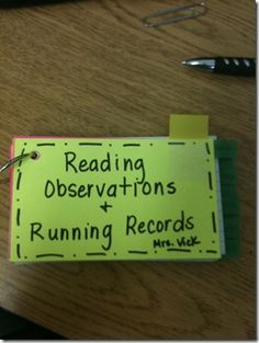 write down observations on notecards and keep on a ring. One card for each student.