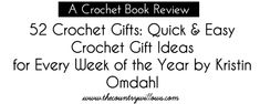 So, I was recently given the opportunity to review Kristin Omdahl's new crochet book 52 Crochet Gifts: Quick and Easy Ideas for Every Week of the Year. In this book Kristin brings us some amazing crochet gift ideas that many of you will be able to use to make some pretty nifty gifts. Kristin brings us crochet patterns from market bags to clutches, bracelets to necklaces, scarves to cowls and fingerless gloves to leg warmers, plus so many more. The variety in this book is what I love. There… Crochet Books, Crochet Gifts, Free Crochet, Market Bag, Book Review, Fingerless Gloves, Crochet Patterns, Bring It On, Fingerless Mitts