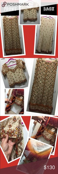 Beautiful Saree Indian dress😍 Beige, orange and maroon Indian dress Saree. Sequin embroiders (very heavy) size XL, but fits like a Large. 😍😍😍 Dresses Wedding