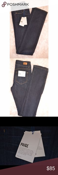 """Paige Hidden Hills High Rise Straight Leg Rosalie NWT, never worn! High Rise jeans. Size 24. Approximately 34"""". A high rise straight leg with a unique double-button waistband and a leg that is straight from the knee to the leg opening. Finished in dark wash with subtle whiskering for a look that's equal parts sophisticated and cool. This jean is finished with a comfort stretch. It feels soft, not stiff, and drapes beautifully. PAIGE Jeans Straight Leg"""
