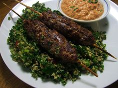 Egyptian kofta: Lamb meat wrapped around a thick skewer, grilled,