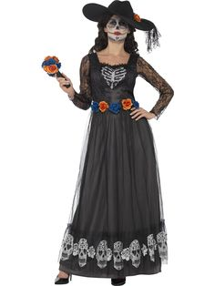 Buy Adult Day of the Dead Skeleton Bride Costume, available for Next Day Delivery. Await your Senor in our Adult Day of the Dead Skeleton Bride Costume! Outfit includes: Dress Hat Bouquet Commemorate the Dead in this Traditional Day of the Dea . Costume Halloween, Halloween Fancy Dress, Halloween Horror, Fancy Dress Ball, Ladies Fancy Dress, Dead Bride Costume, Black Bride, Maxi Robes, Halloween Disfraces