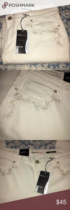 Style & Co Embroidered Ankle Jeans Size 16 Pants Style & Co Embroidered Ankle Jeans Size 16, brand new with tags. Ankle length, curvy fit with a hint of stretch. Gorgeous embroidery in pocket areas. Style & Co Jeans