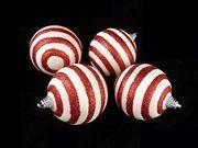 Peppermint Twist Glitter Striped Shatterproof Christmas Ball Ornaments