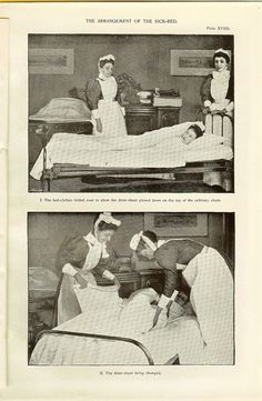 1898 Victorian Medical Nursing Print Nurses Making Up Hospital Bed Patient Bed…