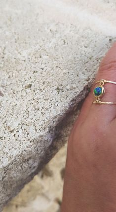 Opal Ring,Gold Opal Ring,Blue Green Opal Ring,October Birthstone,Stacking Ring,Dainty Gold Ring,Natural Opal Engagement Ring,Double Ring