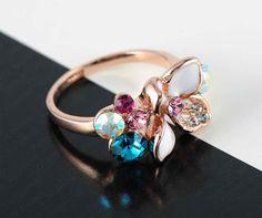 White Enamel 18K Rose Gold Plate Colorful Austrian Crystal Women Rings, $34.00
