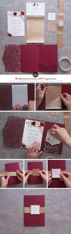 Fall burgundy foral wedding invitation DIY inspiration