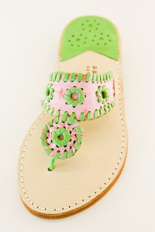 Pink Croc & Green Palm Beach Sandals