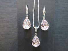 Rosaline Pink Bridesmaid Jewelry Set/Swarovski Light Pink Crystal/Bridesmaid Set/Crystal Necklace/Swarovski Crystal Pink Earrings/Blush Pink