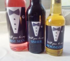 Will you be my Best Man, Usher or Groomsman, Wine or Beer Bottle Label.