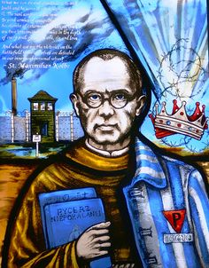 A stained glass window remembering Polish priest Saint Maximilian Kolbe who died during the holocaust in Auschwitz concentration camp. Catholic Saints, Patron Saints, Catholic Prayers, Catholic News, Catholic Art, Religious Art, Maximillian Kolbe, St Maximilian, All Souls