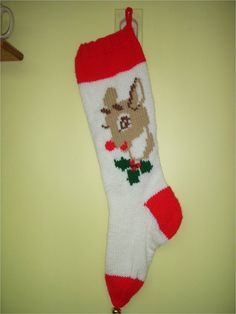 Hand-Knitted Personalized Rudolph Christmas Stocking. Looks just like the one I have had since I was a baby. I want to get her one too. Xmas 2014