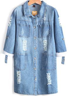 Blue Long Sleeve Ripped Pockets Denim Coat 0.00