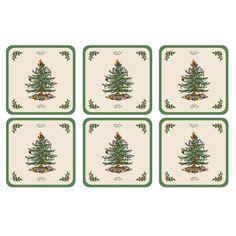 Spode 2010268338 Christmas Tree Coaster - Set of 6