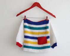 christmas gift / kids stripes knit sweater / children vintage primary colors sweater / white, red, green, blue toddler sweater