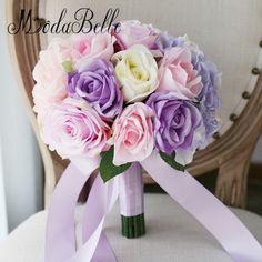 Bridesmaid Flower Bouquet Artificial Pink Bridal Bouquet Rose Flower Purple