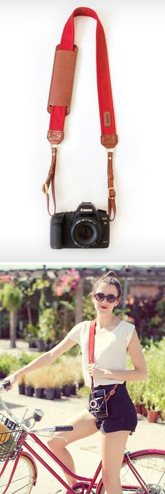 The Scarlet Fotostrap - Leather + canvas camera strap.  Shop at www.fotostrap.com! Monogrammable and gives back!