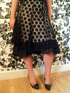 Gorgeous, modest, ruffly, polka-dotted skirt.