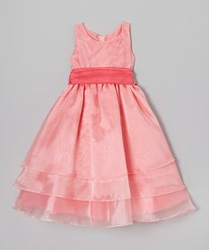 Coral Tiered Dress - Girls