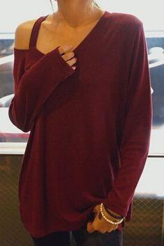 Casual V-Neck Long Sleeve T-Shirt For Women T-Shirts | RoseGal.com Mobile