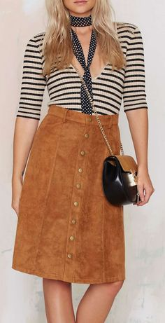 Soft Vegan Suede Midi Skirt - Great Camel Color for Fall!