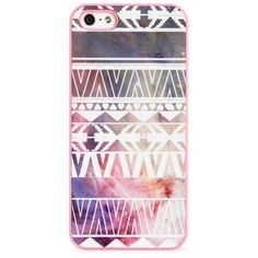 BlissfulCASE IPhone 5/5S Geo Aztec Pink Galaxy Print Case ($30) ❤ liked on Polyvore featuring accessories, tech accessories, phone cases, phones, cases, iphone and pink