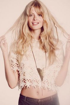 long wavy blonde locks with bangs I will never achieve!