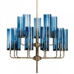 Люстра Hans-Agne Jakobsson Brass & Blue Glass Tube Chandelier