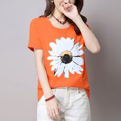 Daisy Pattern Slim T-shirt Summer New Floral Printed Short Sleeve Female Tops Cozy Round Neck Loose Women T Shirt