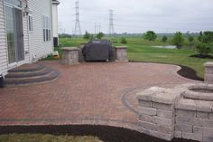 Patio Designs Among Bricks Furnished With Grinder