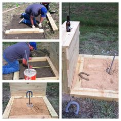 Horseshoe pits with a backstop/ bar top! | Projects I#39;ve made ...