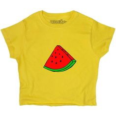 Watermelon T Shirt Crop Top Graphic Summer Tee Unisex Yellow Pink Blue... ($19) ❤ liked on Polyvore featuring tops, t-shirts, crop tops, women's clothing, yellow, pink tee, blue crop top, graphic tees, crop tee and pink t shirt