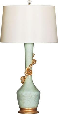 """Selected as """"Editor's Choice"""" by Home Accents Today at Market! Avril Rose Bleu // Long neck porcelain body - gold leaf applied under hand-painted pale blue to give brushed glass effect. Cream silk shade. // Model # LP-64102"""