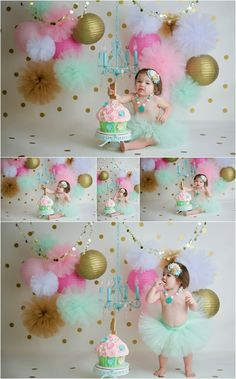 Pink, Mint, and Gold Cake Smash Session First Birthday Cake Smash Session http://heatherelizabethstudios.com/blog/2017/01/pink-teal-and-gold-cake-smash-session-cincinnati-cake-smash-photographer/
