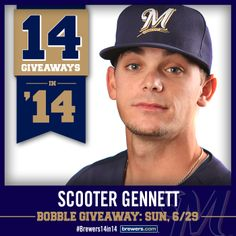 Just announced: Scooter Gennett Bobble to replace Norichika Aoki Bobble on June 29. #Brewers #Brewers14in14