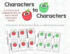 """This game is perfect for teaching about Character Traits or even citizenship skills. The game is played just like the popular game """"Apples to Apples.""""   Includes: 60 Character Cards (most popular book characters) 60 Character Trait Cards Blank Character and Character Trait Cards Template (to add your own!) Directions"""