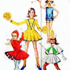Girls Uniform Costume Majorette Cheerleader Skating Baton 60s Pattern - sewinghappyplace